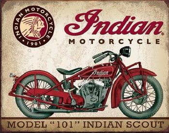 Metallikyltti INDIAN MOTORCYCLES - Scout Model 104