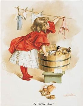 Metallikyltti IVORY SOAP GIRL WASHING