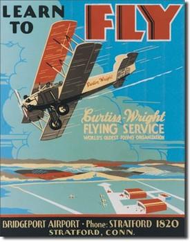 Metallikyltti LEARN TO FLY