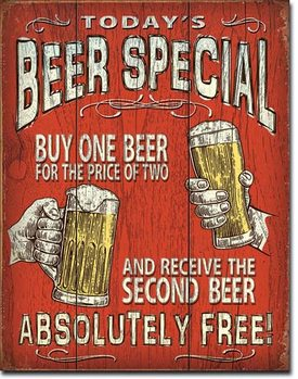 Metallikyltti Todays Beer Special