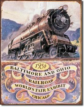 Metalllilaatta  B&O RAILROAD 34 - worlds fair