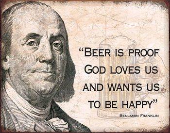 Metalllilaatta  Ben Franklin - Beer