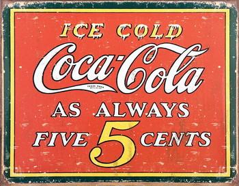 Metalllilaatta COKE VINTAGE 5 CENTS