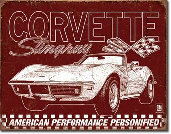 Metalllilaatta  Corvette - 69 StingRay