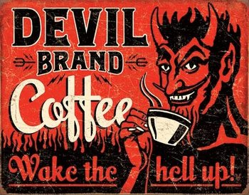 Metalllilaatta  Devil Brand Coffee
