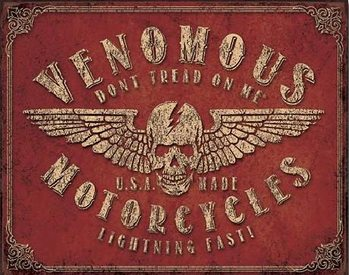 Metalllilaatta Don't Tread On Me - Venomous Motorcycles