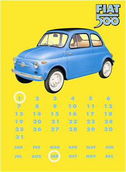 Metalllilaatta Fiat 500 Calendar