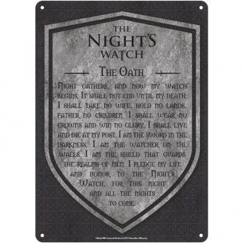 Metalllilaatta Game Of Thrones - Nights Watch
