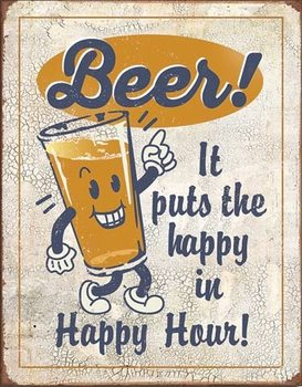 Metalllilaatta Happy Hour - Beer