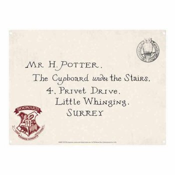 Metalllilaatta Harry Potter - Letters