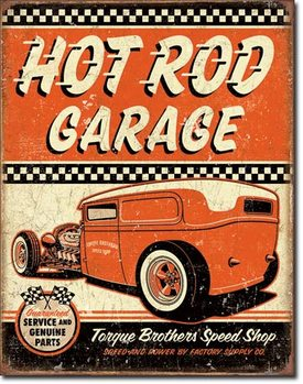 Metalllilaatta Hot Rod Garage - Rat Rod