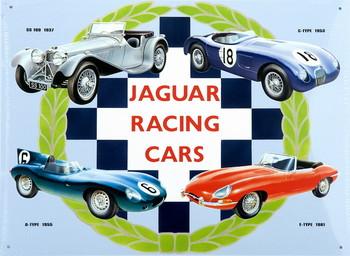 Metalllilaatta JAGUAR RACING CARS COLLAGE