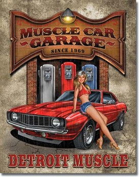 Metalllilaatta LEGENDS - muscle car garage