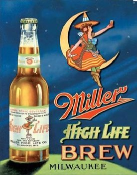 Metalllilaatta  MILLER HIGH LIFE BREW