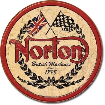 Metalllilaatta  NORTON - logo round