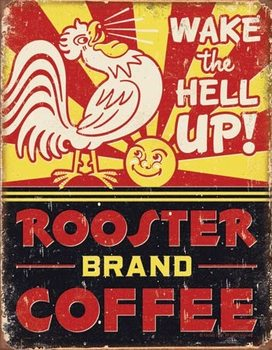 Metalllilaatta Rooster Brand Coffee