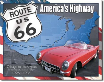 Metalllilaatta  ROUTE 66 - 1926-1985