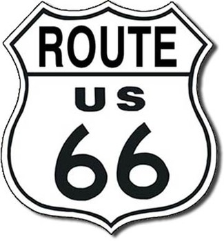 Metalllilaatta ROUTE 66 - shield