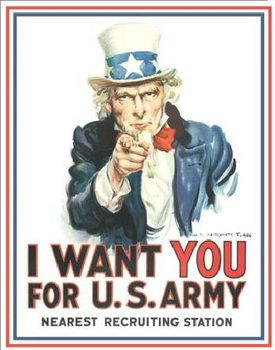 Metalllilaatta  UNCLE SAM - i want you