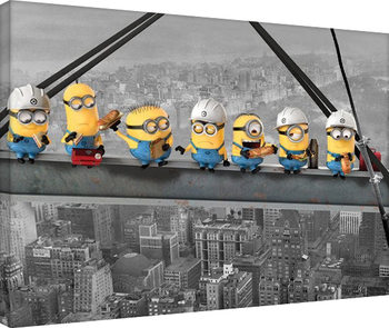 Minions (Despicable Me) - Minions Lunch on a Skyscraper Canvas Print