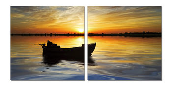 Abandoned boat at sunset Mounted Art Print
