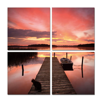 Alpenglow pier Mounted Art Print