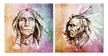 American Indian painting Mounted Art Print