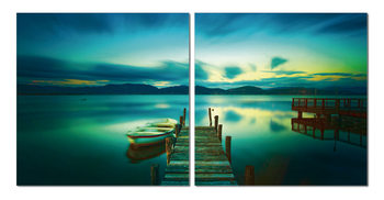 Aurora over the lake Mounted Art Print