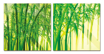 Bamboos on canvas Mounted Art Print