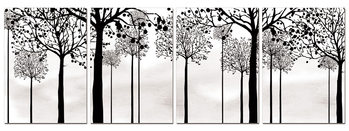 Black silhouettes of trees Mounted Art Print