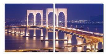 Brooklyn Bridge at night Mounted Art Print