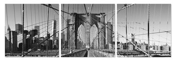 Brooklyn bridge in black and white Mounted Art Print