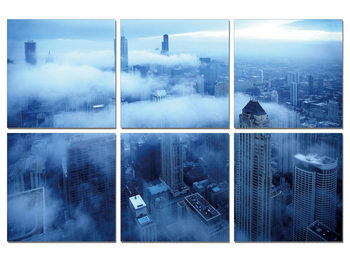 City in the clouds Mounted Art Print