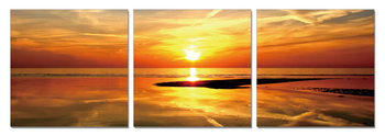 Golden sunset over the sea Mounted Art Print