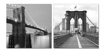 Gray bridge pillar Mounted Art Print