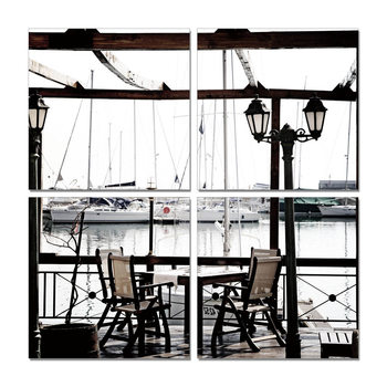 Harbor Café - Seating Mounted Art Print