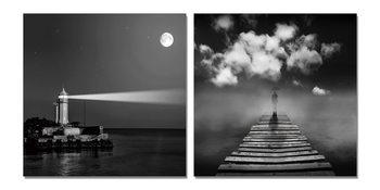 Lighthouse gray Mounted Art Print