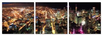 Lit metropolis night Mounted Art Print