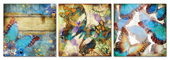 Modern Design - Colorful Butterflies Mounted Art Print