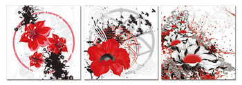 Modern design - red flowers Mounted Art Print