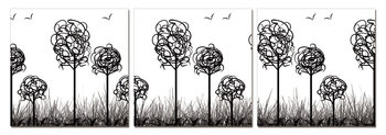 Modern Design - Trees with Birds Mounted Art Print