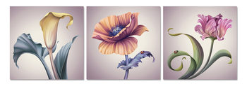 Modern flowers Mounted Art Print