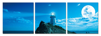 Moon over lighthouse Mounted Art Print