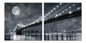Moon over the bridge Mounted Art Print