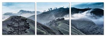 Morning misty mountains Mounted Art Print