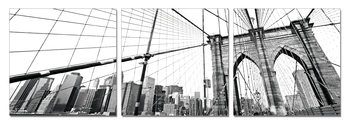 New York - Brooklyn Bridge detail (B&W) Mounted Art Print