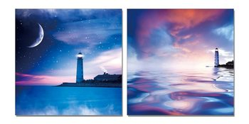 Night lighthouse Mounted Art Print