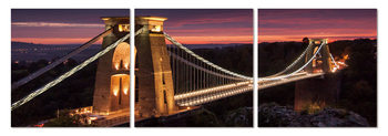 Night panorama with bridge Mounted Art Print