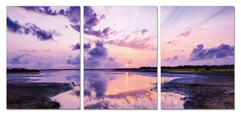Purple sky over the lake Mounted Art Print