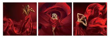 Red dance Mounted Art Print